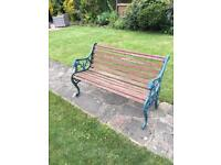 Garden bench and table, lions head cast iron design