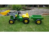 John Deere Rolly Kid Pedal Tractor with Frontloader & Trailer