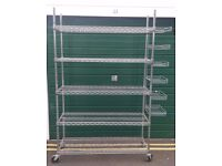 Bargain Chrome Finished Strong Shelving Rack with 5 Shelves on Wheels, cost new around £200
