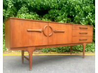 Vintage 'Beautility' Danish style long teak sideboard. Delivery. Modern / Midcentury.