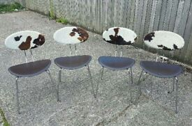 Set Of Four Retro Style Cow Hide Chairs