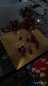 Decor Centre Piece Wine Glasses, Lacquer tray and fruit pieces