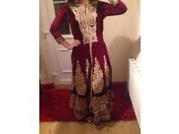 Maroon Asian Pakistani Indian wedding party dress