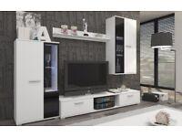 White matt wall unit (TV stand, cabinets, shelf)