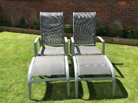 Reclining Garden Chairs with footstools