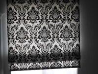Black/white patterned flock roman blind(s) + fittings