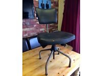 INDUSTRIAL 1950'S BLACK LEATHER SWIVEL CHAIR TAKEN FROM OPTICIANS - CAN DELIVER OR ARRANGE COURIER