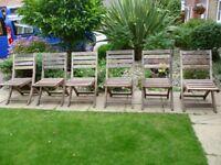 Set of 6 Teak quality folding garden chairs