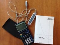 TI-83 Plus Graphing Calculator with handbook and USB cable