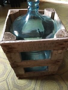 Antique bottle with crate