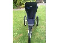 Very good condition running buggy with detachable front wheel and safety straps