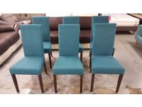 8 NEW Oak Dining Chairs with Teal Fabric & dark wood legs Can Deliver view Collect NG177