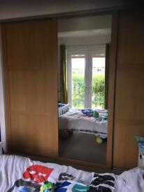 3 x sliding wardrobe doors with runners and trim
