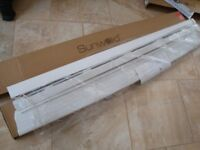BRAND NEW IN BOX WHITE WOOD VENETIAN BLINDS SIZE 57INCH WIDE X 56INCH DROP ONLY £30 FOR QUICK SALE
