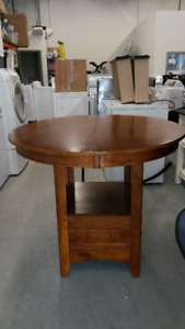 Round Wooden Table with Removable Leaf