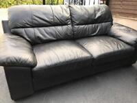 3 & 2 Black leather sofa set suite