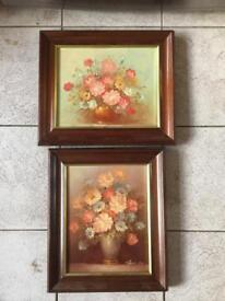 Pair Of Small framed Still Life oil on Canvasses, signed