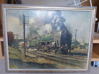 Cuneo print of Evening Star 92220 on goods train