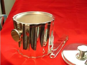 ST.JAMES SILVER PLATE WINE BUCKET with silver plate tongs.