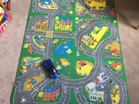 childrens play toy car mat rug road map town city 2m x 1m