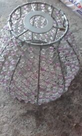 pink white beaded lampshade