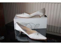 Wedding shoes; ivory silk, beaded, size UK 4.5 (Eur 37.5)