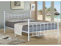 5FT WHITE METAL KING SIZE BED FRAME IN THE VICTORIAN STYLE-NEVER ASSEMBLED