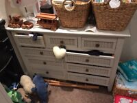 White wardrobe and chest of drawers