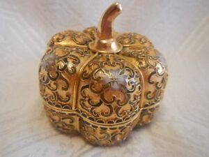 Vintage Asian / Chinese Cloisonne Champleve Pumpkin TrinkeT Box