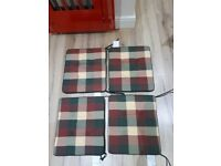 Quality Garden Chair Cushions/Chequered - red/green/cream/Reversable - plain green/Set of 4