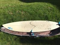 7'0 Thruster, leash, fins and Board bag
