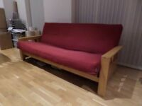 Futon Company 3 Seater Sofa Bed Birch Wood Base+Thick Sofabed Mattress+Cover Cost £945 (Can Deliver)