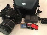 Canon EOS 400D with 18-55 lenses and complete kit + THREE memory cards!