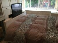 King size Tv Bed White Leather