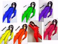 SEXY PVC CATSUIT Jumpsuit Black White Red Blue Yellow 6-16 UK New With Tags