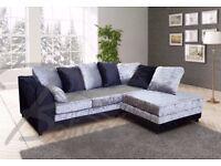 💗💖Black/Silver Or Black & Silver❤ New Italian Crushed Velvet Double Padded Corner Sofa Or 3+2 Sofa