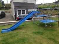 Slide, climbing frame, slide, monkey bars
