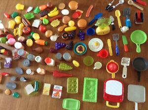 Huge lot of play kitchen items