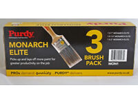 "purdy paint brush set mon1 set of 3 brushes 1"", 1 1/2"" and 2"" brand new"