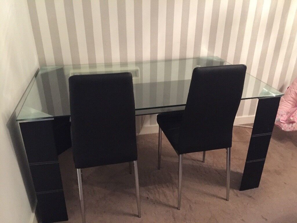 DFS Dash glass and black dining table and 4 chairs - barely used ...