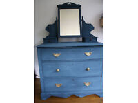 Beautiful upcycled dresser/ bedroom furniture in striking blue with gold-coloured handles