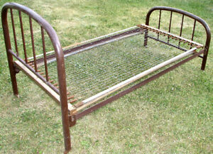 Antique Metal Double Bed c/w Springs