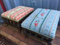 Victorian footstool , both in good condition . Size roughly 13in x 10in x 8in .