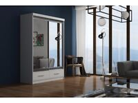 **DELIVER SAME DAY !*150 CM*WHITE MARGO MIRROR Sliding Door Wardrobe -SAME DAY DELIVERY!