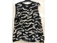 New Whistles printed black & white top - size 14