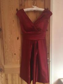 Two burgundy retro bridesmaid dresses