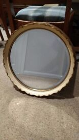 Antique Vintage Crackled Glazed Round Mirror 1920-30's