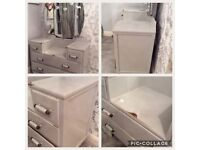 pale grey shabby chic dressing table & 3 way mirror