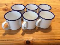 6 Enamel Camping Mugs/Cups