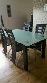 Frosted Glass Dining Table and 4 Leather Effect Dining Chairs